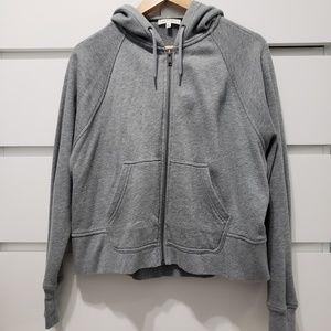 Grey Cropped Zip Up Hoodie
